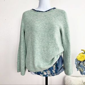 LOFT Seafoam Plush Knit Flute Sleeve Sweater